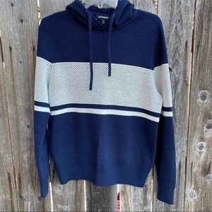 Express • white and navy hoodie sweater